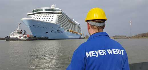 Ovation of the Seas leaves Meyer Werft's Papenburg yard