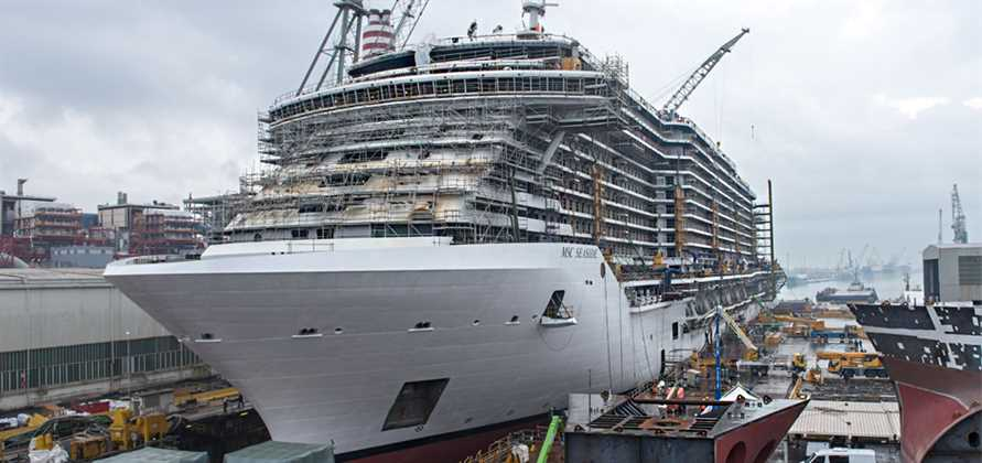 MSC Seaside floats out of dry dock in Italy
