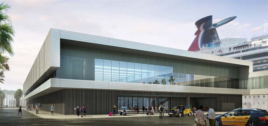 Carnival Corporation shares renders of Barcelona cruise terminal