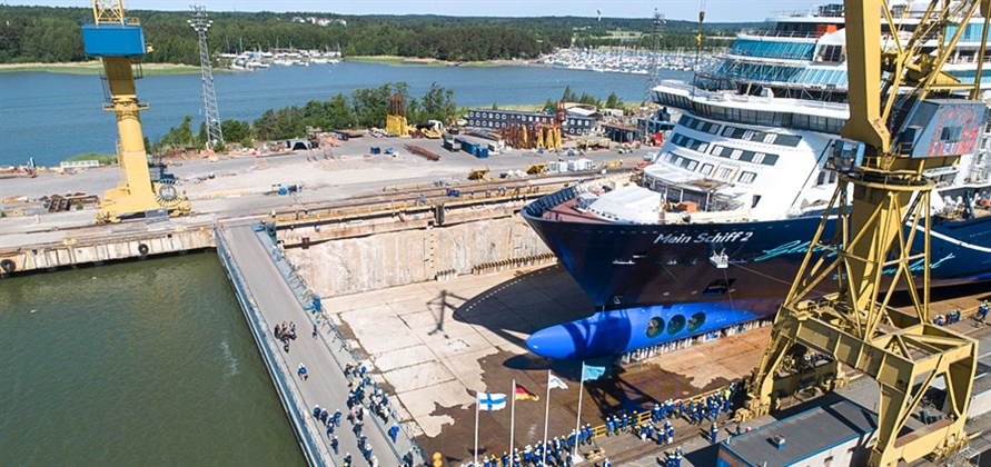Meyer Turku floats new Mein Schiff 2 out of building dock