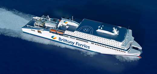 Brittany Ferries celebrates as FSG floats out Honfleur's hull