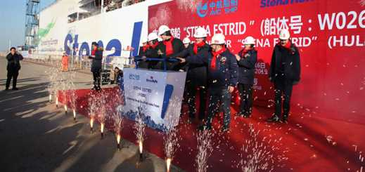 Stena's first E-Flexer ferry floats out of her dry dock