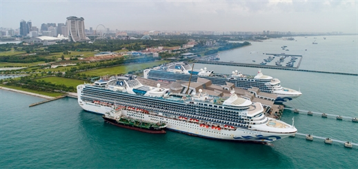 Diamond Princess and Sapphire Princess dock in Southeast Asia